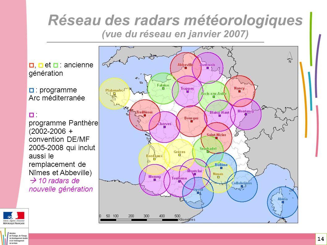 14 Réseau des radars météorologiques (vue du réseau en janvier 2007), et : ancienne génération : programme Arc méditerranée : programme Panthère (2002
