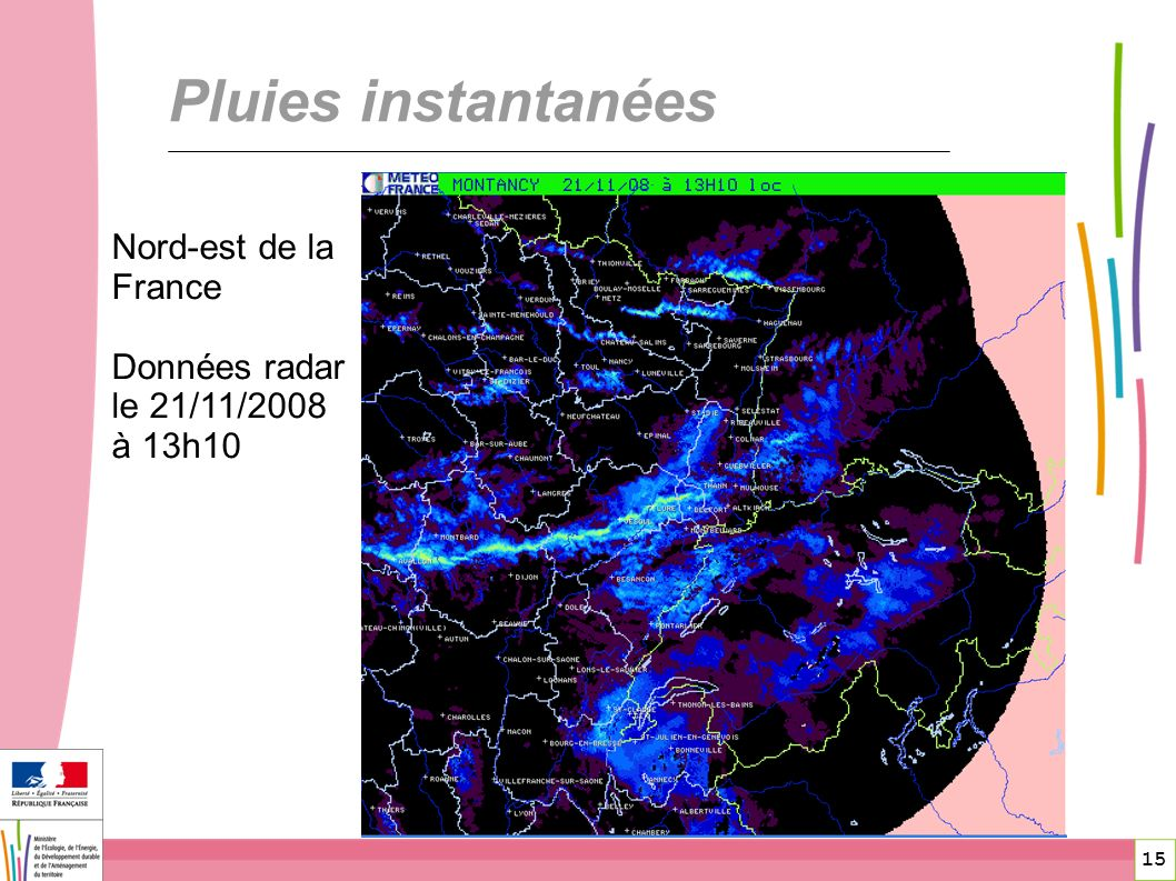 15 Pluies instantanées Nord-est de la France Données radar le 21/11/2008 à 13h10