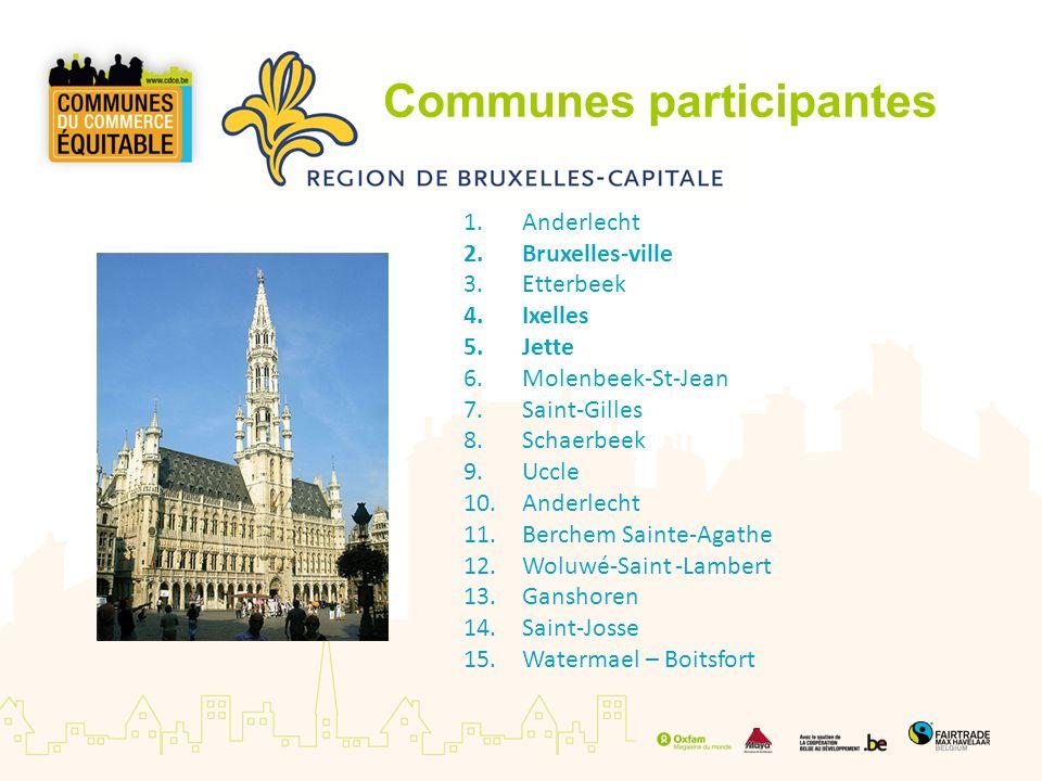 Communes participantes 1.Anderlecht 2.Bruxelles-ville 3.Etterbeek 4.Ixelles 5.Jette 6.Molenbeek-St-Jean 7.Saint-Gilles 8.Schaerbeek 9.Uccle 10.Anderle