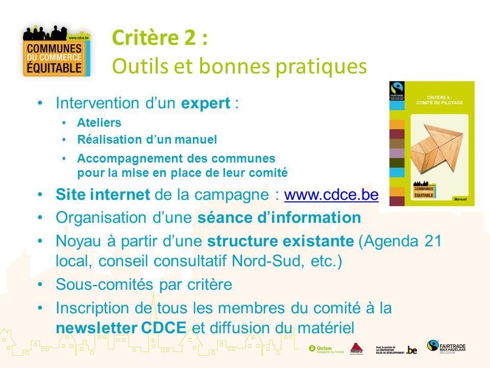 Critère 2 : Outils et bonnes pratiques Intervention dun expert : Ateliers Réalisation dun manuel Accompagnement des communes pour la mise en place de