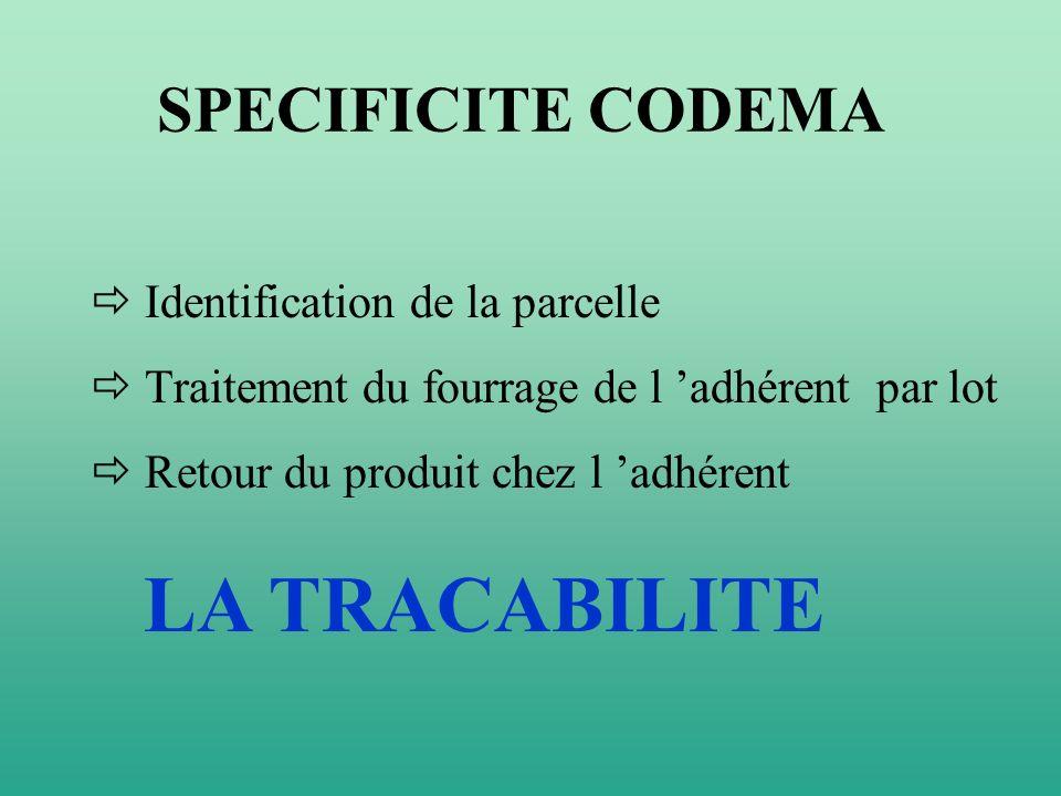 SPECIFICITE CODEMA Identification de la parcelle Traitement du fourrage de l adhérent par lot Retour du produit chez l adhérent LA TRACABILITE