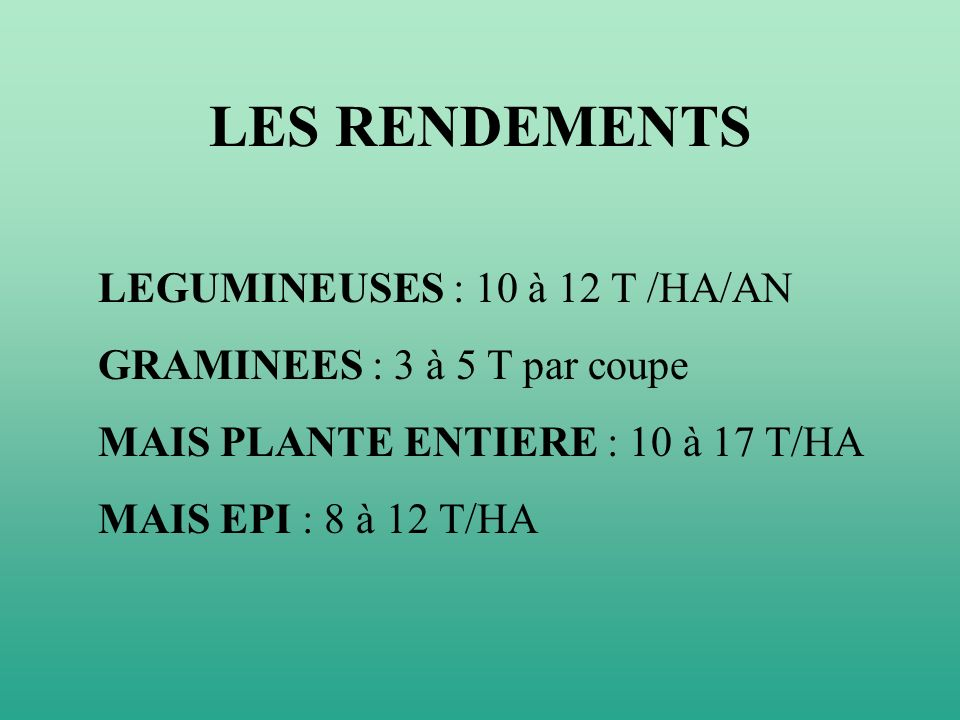 LES RENDEMENTS LEGUMINEUSES : 10 à 12 T /HA/AN GRAMINEES : 3 à 5 T par coupe MAIS PLANTE ENTIERE : 10 à 17 T/HA MAIS EPI : 8 à 12 T/HA