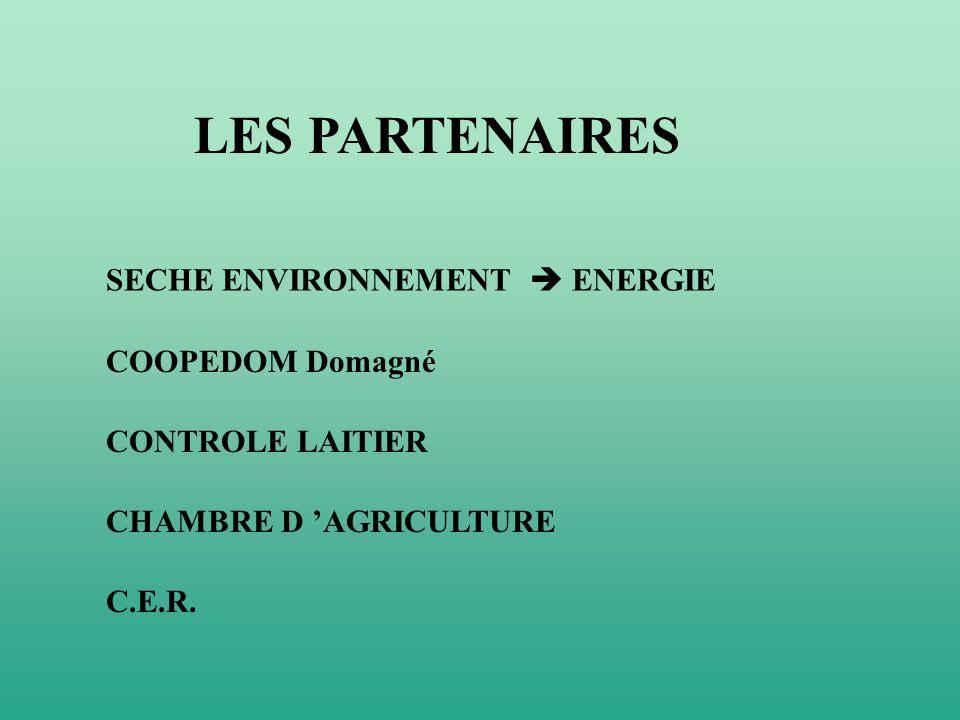 LES PARTENAIRES SECHE ENVIRONNEMENT ENERGIE COOPEDOM Domagné CONTROLE LAITIER CHAMBRE D AGRICULTURE C.E.R.