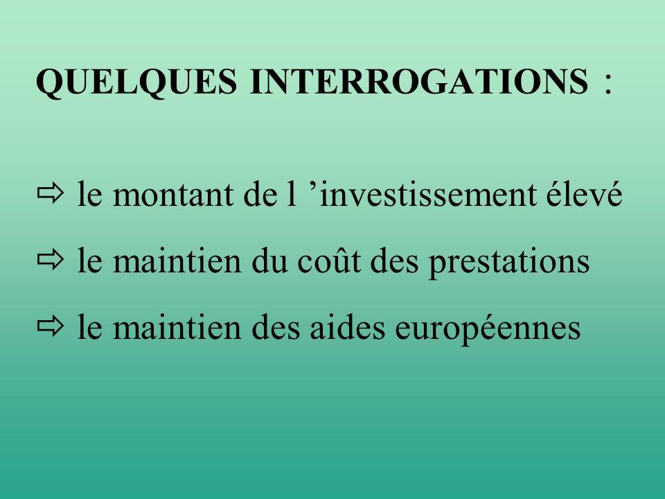 QUELQUES INTERROGATIONS : le montant de l investissement élevé le maintien du coût des prestations le maintien des aides européennes