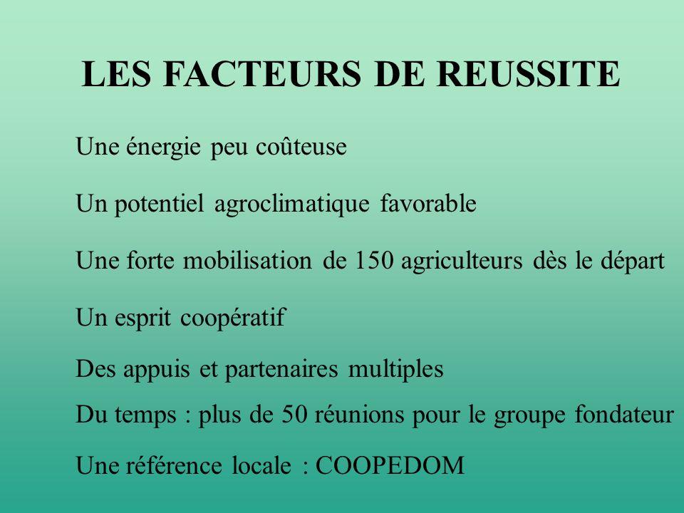 LES FACTEURS DE REUSSITE Une énergie peu coûteuse Un potentiel agroclimatique favorable Une forte mobilisation de 150 agriculteurs dès le départ Un es