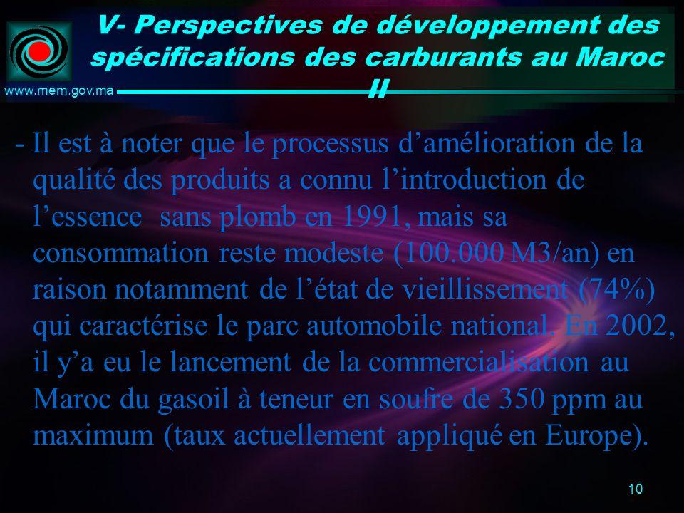 10 www.mem.gov.ma V- Perspectives de développement des spécifications des carburants au Maroc II - Il est à noter que le processus damélioration de la qualité des produits a connu lintroduction de lessence sans plomb en 1991, mais sa consommation reste modeste (100.000 M3/an) en raison notamment de létat de vieillissement (74%) qui caractérise le parc automobile national.