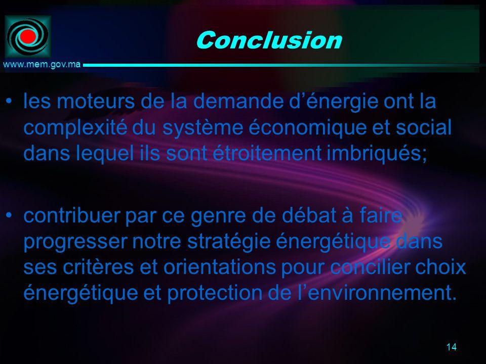 14 www.mem.gov.ma Conclusion les moteurs de la demande dénergie ont la complexité du système économique et social dans lequel ils sont étroitement imbriqués; contribuer par ce genre de débat à faire progresser notre stratégie énergétique dans ses critères et orientations pour concilier choix énergétique et protection de lenvironnement.