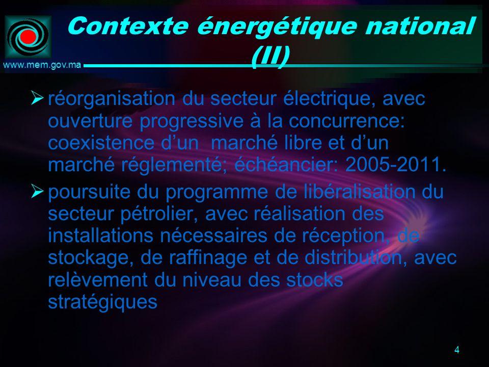 4 www.mem.gov.ma Contexte énergétique national (II) réorganisation du secteur électrique, avec ouverture progressive à la concurrence: coexistence dun marché libre et dun marché réglementé; échéancier: 2005-2011.