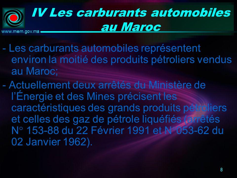 8 www.mem.gov.ma IV Les carburants automobiles au Maroc - Les carburants automobiles représentent environ la moitié des produits pétroliers vendus au Maroc; - Actuellement deux arrêtés du Ministère de lÉnergie et des Mines précisent les caractéristiques des grands produits pétroliers et celles des gaz de pétrole liquéfiés (arrêtés N° 153-88 du 22 Février 1991 et N°053-62 du 02 Janvier 1962).