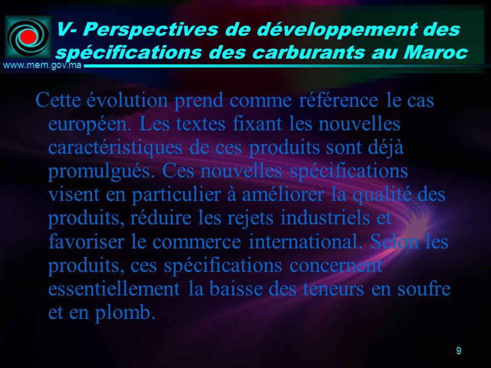 9 www.mem.gov.ma V- Perspectives de développement des spécifications des carburants au Maroc Cette évolution prend comme référence le cas européen.