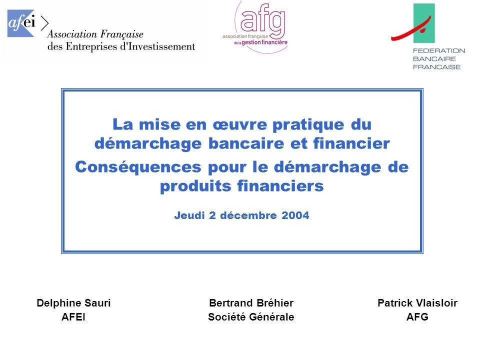 La mise en œuvre pratique du démarchage bancaire et financier Conséquences pour le démarchage de produits financiers Jeudi 2 décembre 2004 Delphine Sa