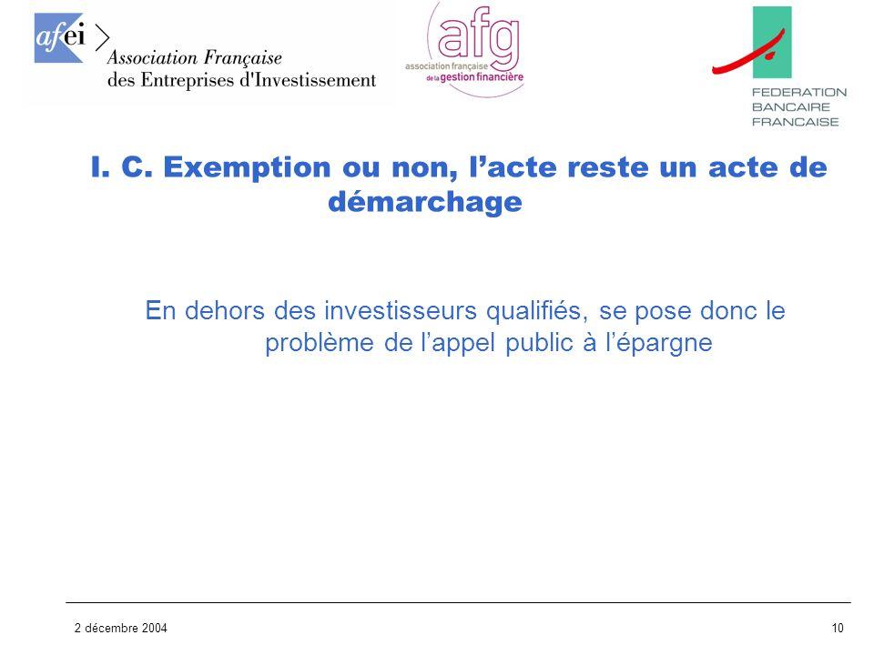 2 décembre 200410 En dehors des investisseurs qualifiés, se pose donc le problème de lappel public à lépargne I. C. Exemption ou non, lacte reste un a
