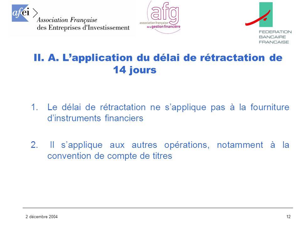 2 décembre 200412 1.Le délai de rétractation ne sapplique pas à la fourniture dinstruments financiers 2. Il sapplique aux autres opérations, notamment