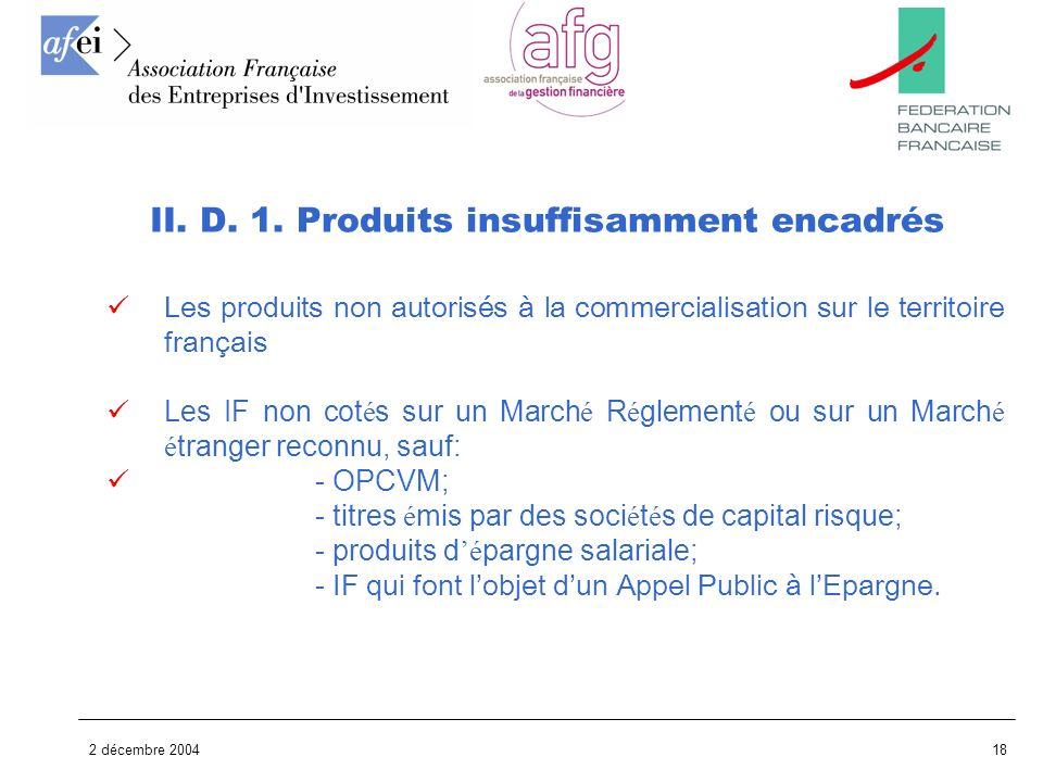 2 décembre 200418 Les produits non autorisés à la commercialisation sur le territoire français Les IF non cot é s sur un March é R é glement é ou sur