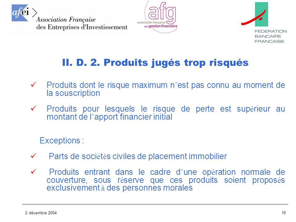 2 décembre 200419 Produits dont le risque maximum n est pas connu au moment de la souscription Produits pour lesquels le risque de perte est sup é rie