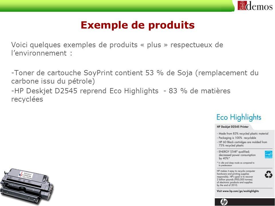 Exemple de produits Voici quelques exemples de produits « plus » respectueux de lenvironnement : -Toner de cartouche SoyPrint contient 53 % de Soja (remplacement du carbone issu du pétrole) -HP Deskjet D2545 reprend Eco Highlights - 83 % de matières recyclées
