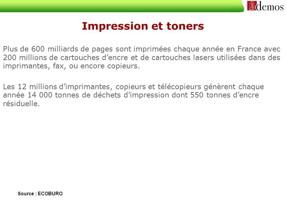 Plus de 600 milliards de pages sont imprimées chaque année en France avec 200 millions de cartouches dencre et de cartouches lasers utilisées dans des imprimantes, fax, ou encore copieurs.
