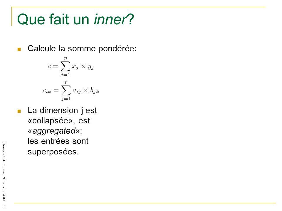 Université de Ottawa, Novembre 2009 10 Que fait un inner? Calcule la somme pondérée: La dimension j est «collapsée», est «aggregated»; les entrées son