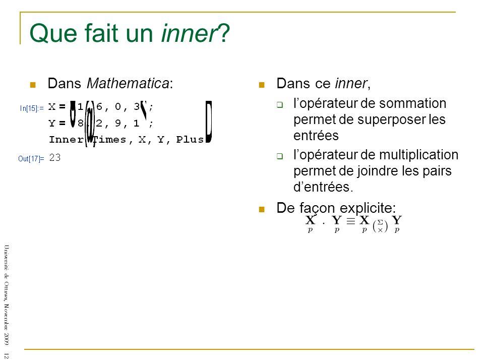 Université de Ottawa, Novembre 2009 12 Que fait un inner? Dans Mathematica: Dans ce inner, lopérateur de sommation permet de superposer les entrées lo