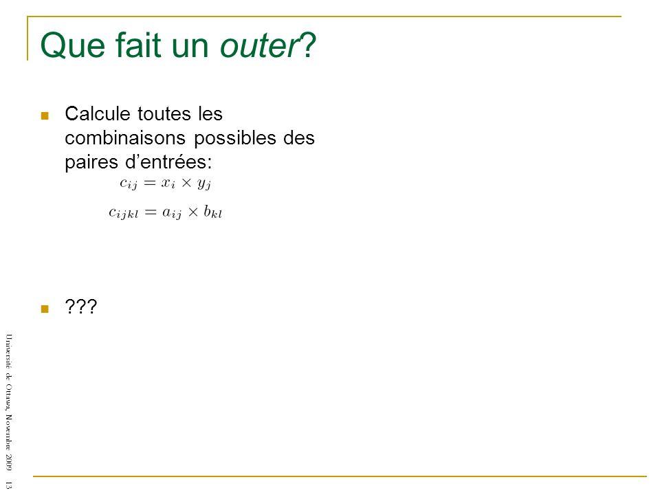 Université de Ottawa, Novembre 2009 13 Que fait un outer? Calcule toutes les combinaisons possibles des paires dentrées: ???