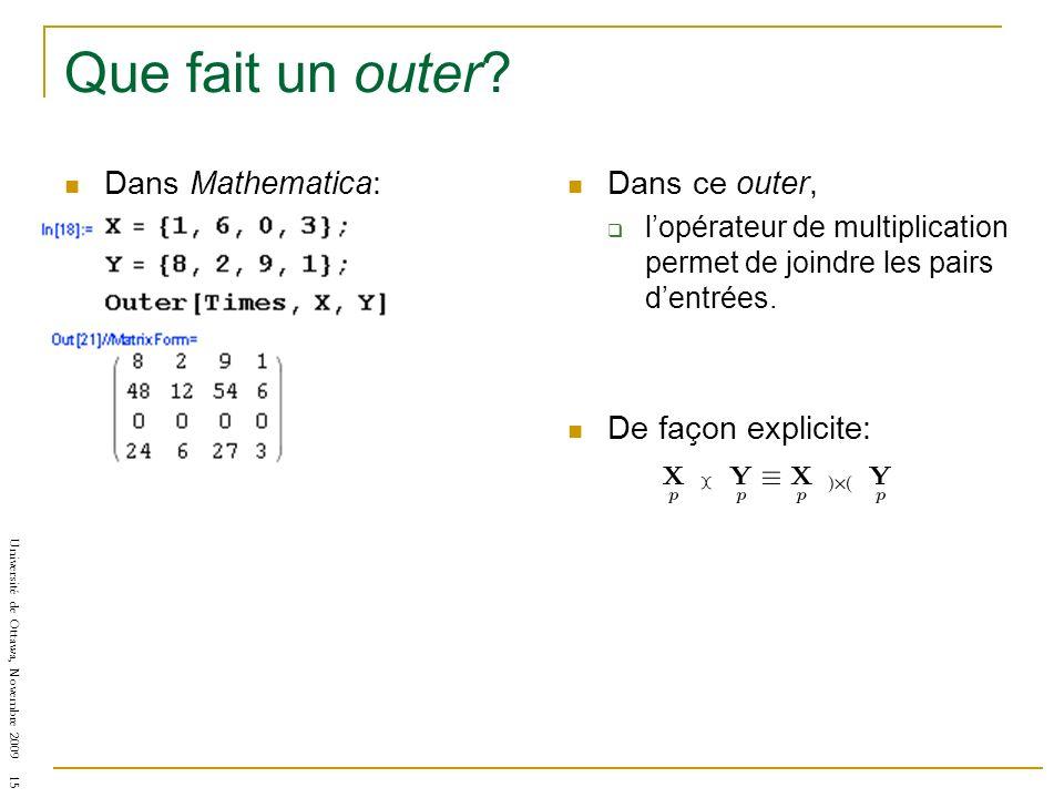 Université de Ottawa, Novembre 2009 15 Que fait un outer? Dans Mathematica: Dans ce outer, lopérateur de multiplication permet de joindre les pairs de