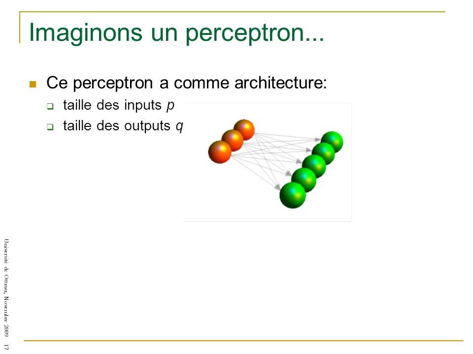 Université de Ottawa, Novembre 2009 17 Imaginons un perceptron... Ce perceptron a comme architecture: taille des inputs p taille des outputs q