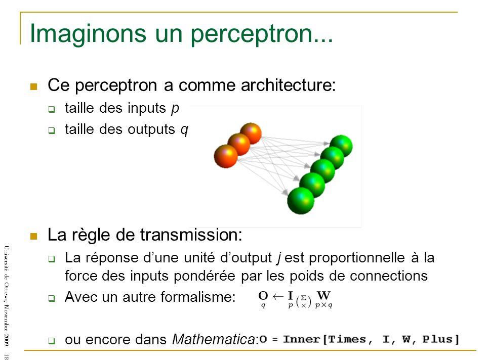 Université de Ottawa, Novembre 2009 18 Imaginons un perceptron... Ce perceptron a comme architecture: taille des inputs p taille des outputs q La règl