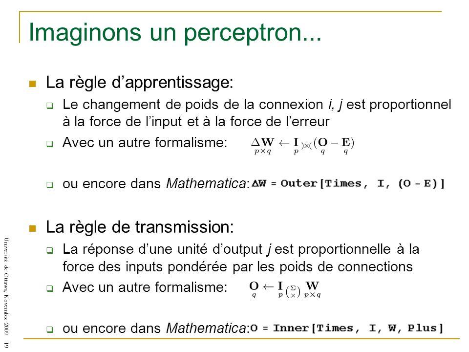 Université de Ottawa, Novembre 2009 19 Imaginons un perceptron... La règle dapprentissage: Le changement de poids de la connexion i, j est proportionn
