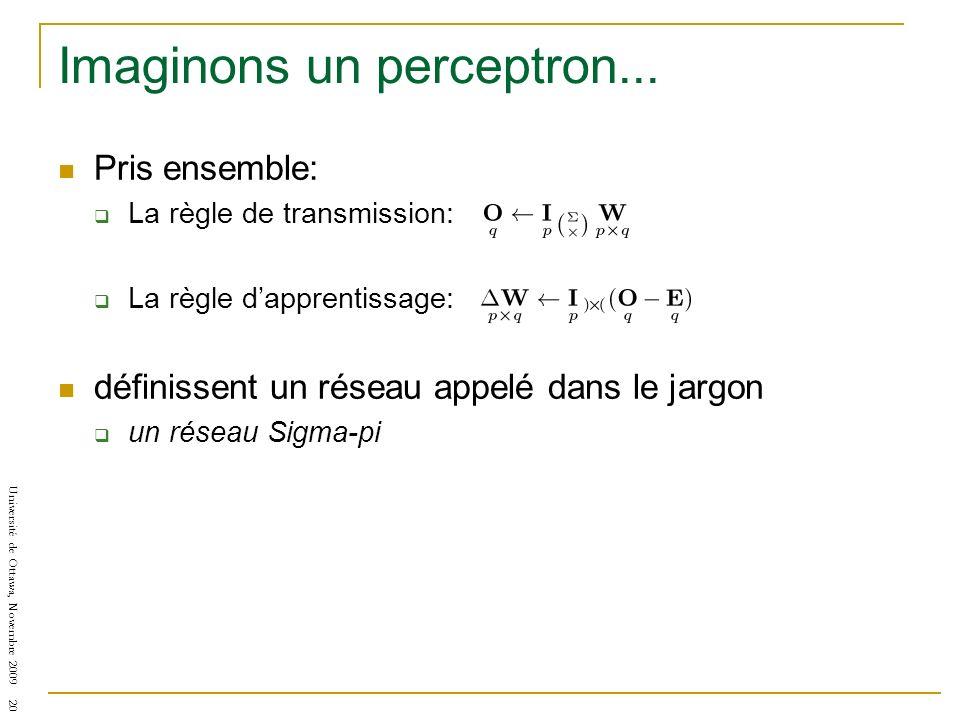 Université de Ottawa, Novembre 2009 20 Imaginons un perceptron... Pris ensemble: La règle de transmission: La règle dapprentissage: définissent un rés