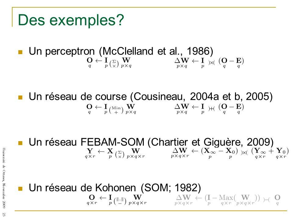 Université de Ottawa, Novembre 2009 23 Des exemples? Un perceptron (McClelland et al., 1986) Un réseau de course (Cousineau, 2004a et b, 2005) Un rése