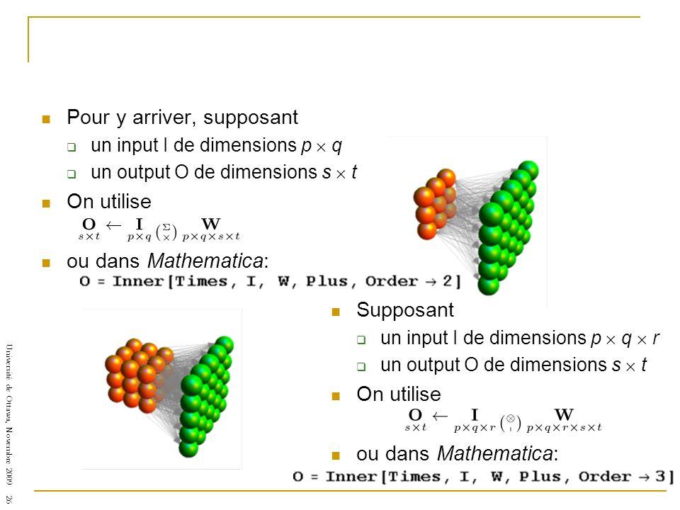 Université de Ottawa, Novembre 2009 26 Supposant un input I de dimensions p q r un output O de dimensions s t On utilise ou dans Mathematica: Pour y arriver, supposant un input I de dimensions p q un output O de dimensions s t On utilise ou dans Mathematica: