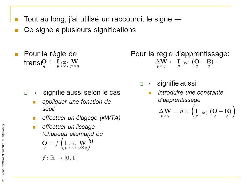 Université de Ottawa, Novembre 2009 28 Pour la règle de transmission: signifie aussi selon le cas appliquer une fonction de seuil effectuer un élagage