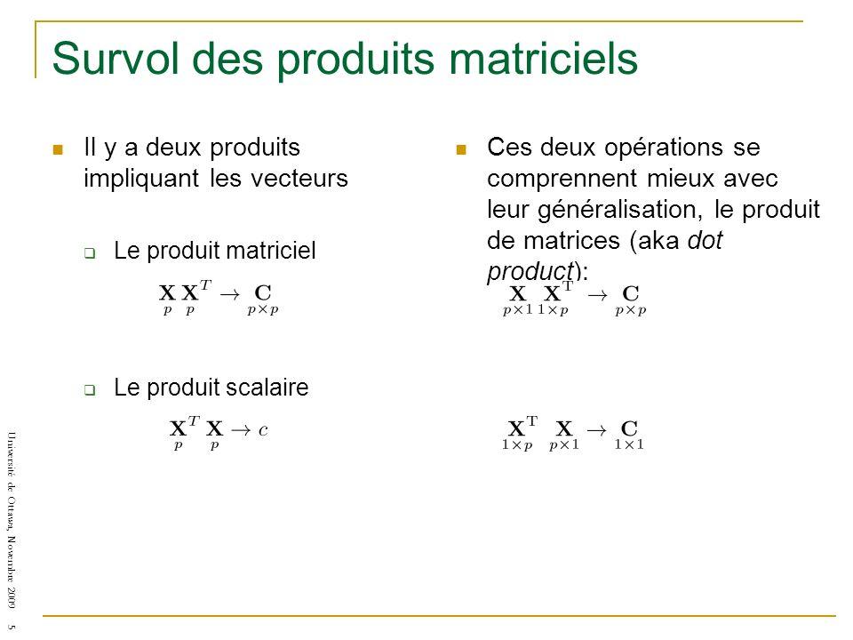 Université de Ottawa, Novembre 2009 5 Survol des produits matriciels Il y a deux produits impliquant les vecteurs Le produit matriciel Le produit scalaire Ces deux opérations se comprennent mieux avec leur généralisation, le produit de matrices (aka dot product):
