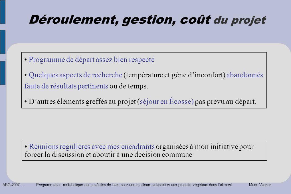 ABG-2007 – Programmation métabolique des juvéniles de bars pour une meilleure adaptation aux produits végétaux dans laliment Marie Vagner Réunions rég