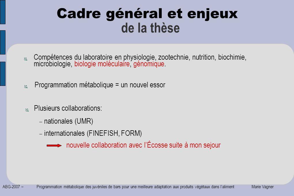 ABG-2007 – Programmation métabolique des juvéniles de bars pour une meilleure adaptation aux produits végétaux dans laliment Marie Vagner Compétences
