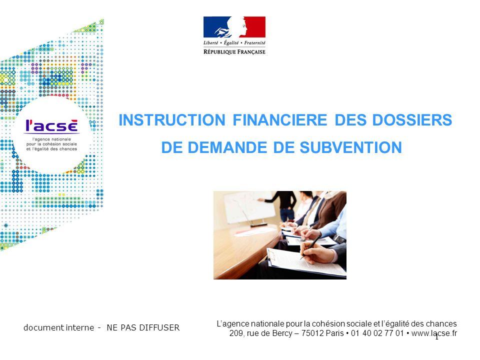1 INSTRUCTION FINANCIERE DES DOSSIERS DE DEMANDE DE SUBVENTION Lagence nationale pour la cohésion sociale et légalité des chances 209, rue de Bercy –