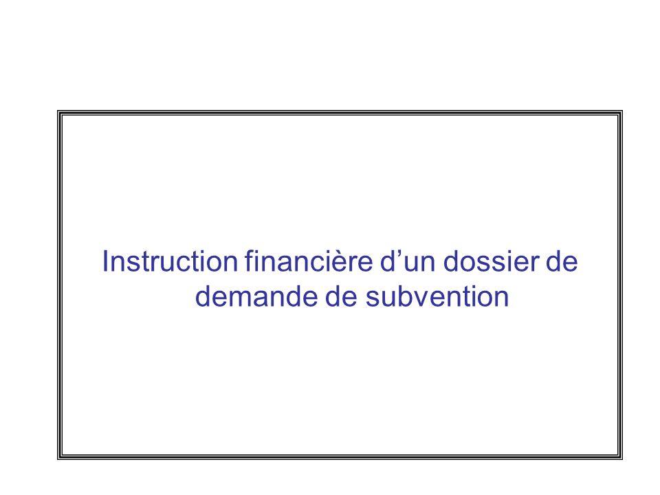 Instruction financière dun dossier de demande de subvention