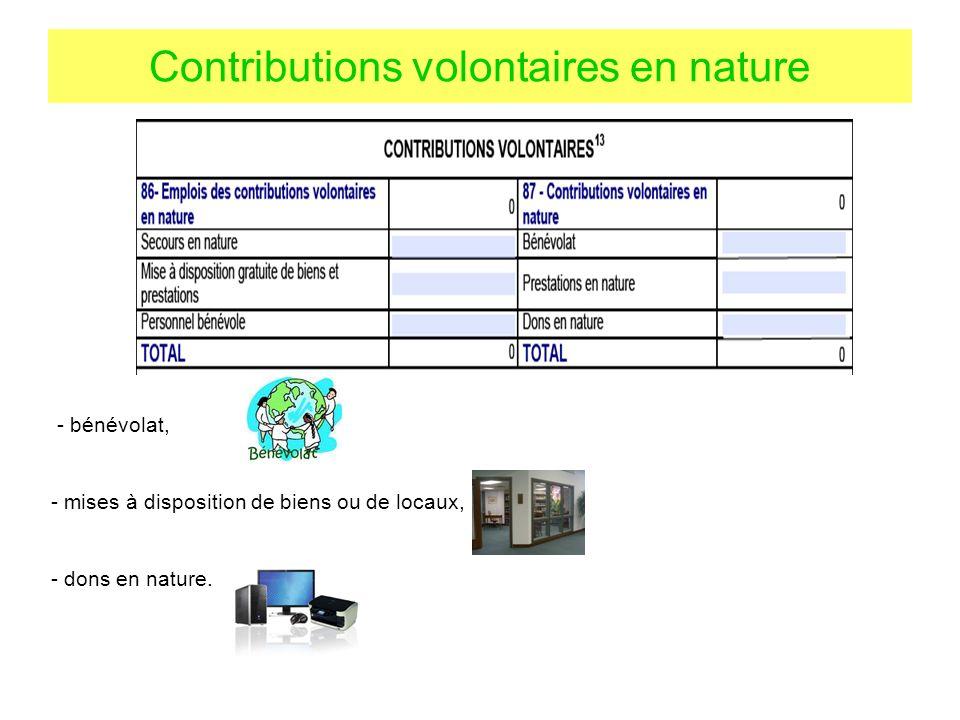 Contributions volontaires en nature - bénévolat, - mises à disposition de biens ou de locaux, - dons en nature.