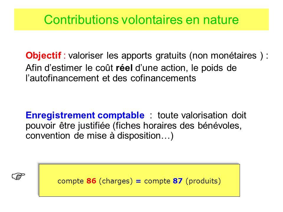 Contributions volontaires en nature Objectif : valoriser les apports gratuits (non monétaires ) : Afin destimer le coût réel dune action, le poids de