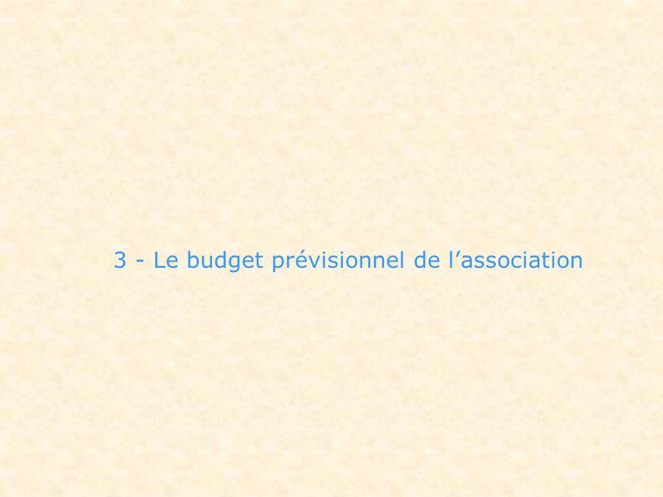 3 - Le budget prévisionnel de lassociation