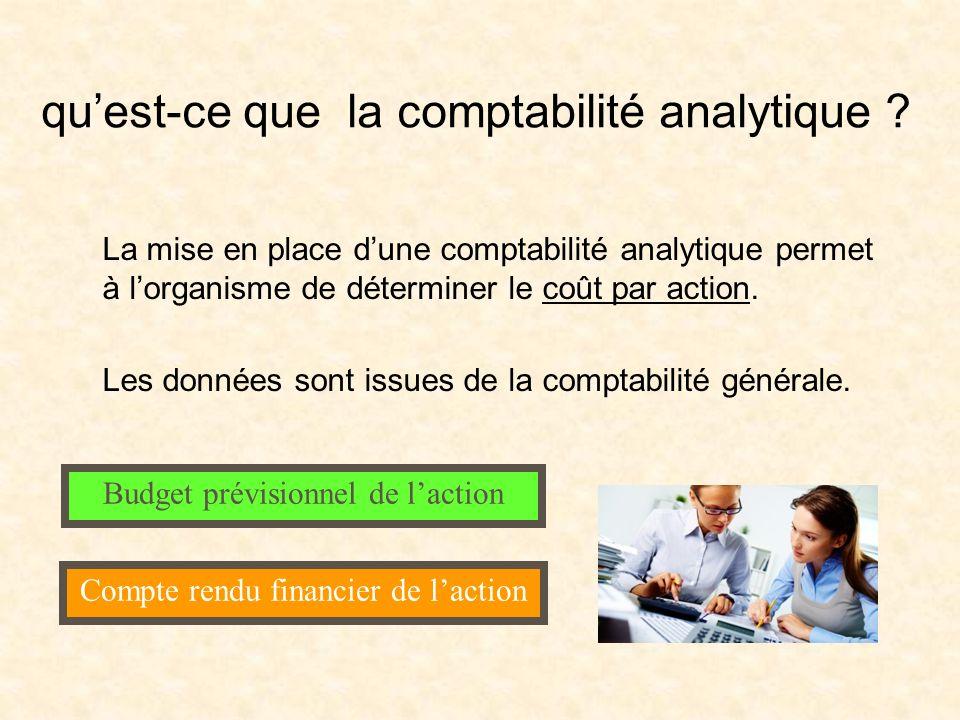 quest-ce que la comptabilité analytique ? La mise en place dune comptabilité analytique permet à lorganisme de déterminer le coût par action. Les donn