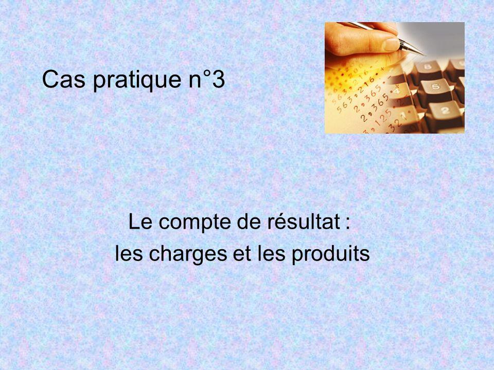 Cas pratique n°3 Le compte de résultat : les charges et les produits
