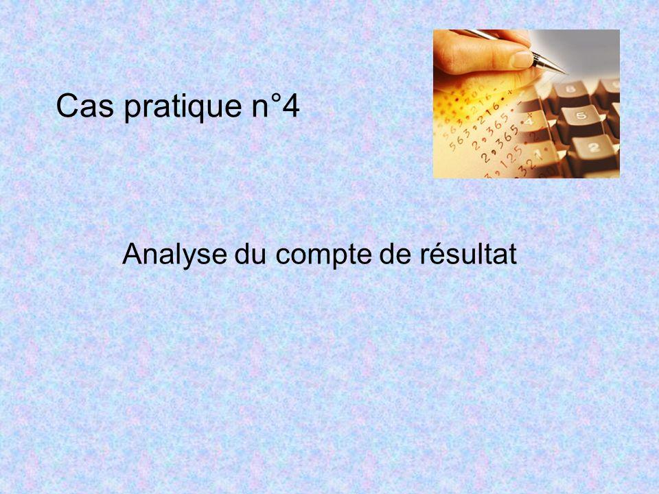 Cas pratique n°4 Analyse du compte de résultat