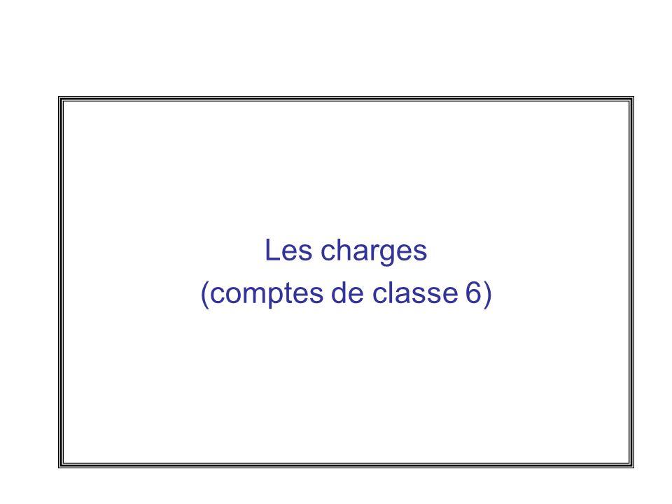Les charges (comptes de classe 6)