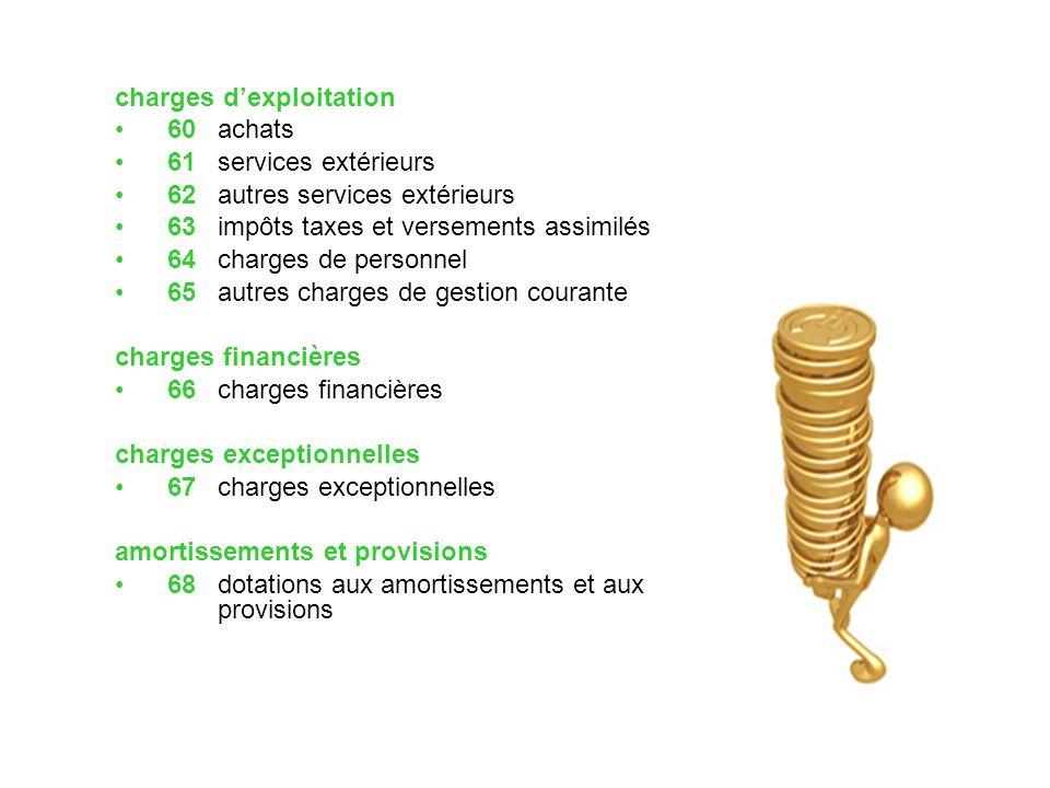 charges dexploitation 60 achats 61services extérieurs 62autres services extérieurs 63 impôts taxes et versements assimilés 64 charges de personnel 65
