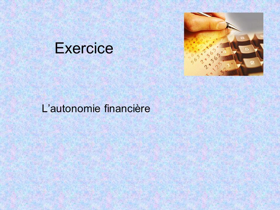 Exercice Lautonomie financière