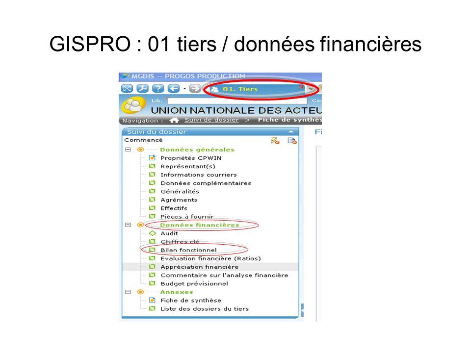GISPRO : 01 tiers / données financières