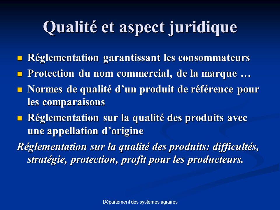 Département des systèmes agraires Qualité et aspect juridique Réglementation garantissant les consommateurs Réglementation garantissant les consommate