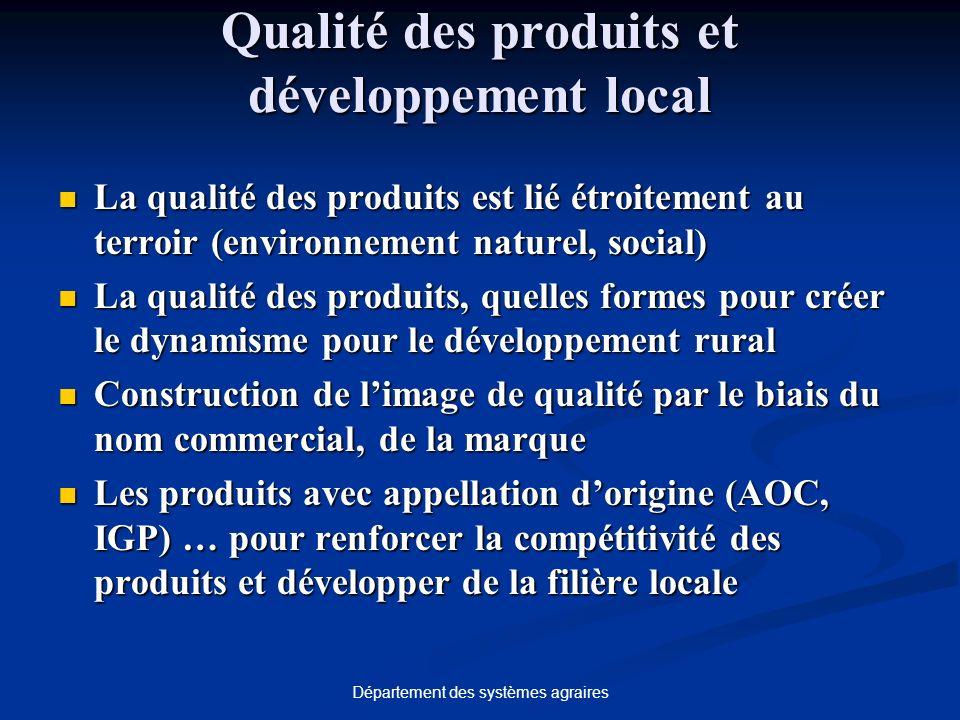 Département des systèmes agraires Qualité des produits et développement local La qualité des produits est lié étroitement au terroir (environnement na
