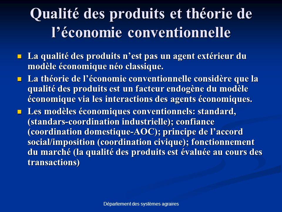 Département des systèmes agraires Qualité des produits et théorie de léconomie conventionnelle La qualité des produits nest pas un agent extérieur du modèle économique néo classique.
